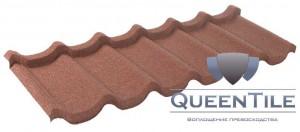 Лист «QueenTile» 1-тайловый  Технические характеристики: Длина - 400 мм; Ширина - 1150 мм Покрываемая площадь листа - 0,460 кв. м. Эффективная площадь листа - 0,385 кв. м. Высота волны - 60 мм Расход - 2,56 шт/кв. м. Вес листа – 2,74 кг.