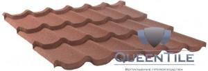 Лист «QueenTile» 3-тайловый Технические характеристики: Длина - 1100 мм; Ширина - 1150 мм Покрываемая площадь листа - 1,265 кв. м. Эффективная площадь листа - 1,155 кв. м. Высота волны - 60 мм Расход - 0,87 шт/кв. м. Вес листа – 7,17 кг.